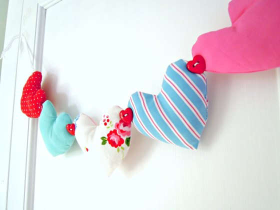 red, white, pink and blue fabric heart garland