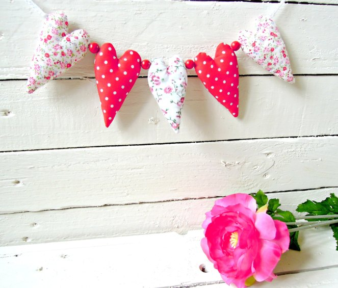 Red Polkadot and Floral Fabric Heart Garland