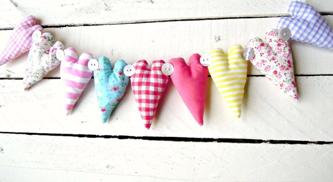 rainbow coloured fabric heart garland