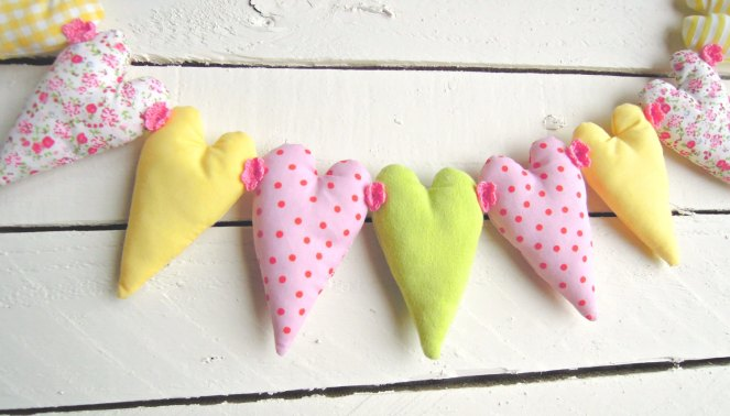pink, yellow and green fabric heart garland